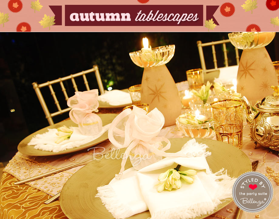 Arabian Nights Fall Party in Gold and Pink Table Decor.