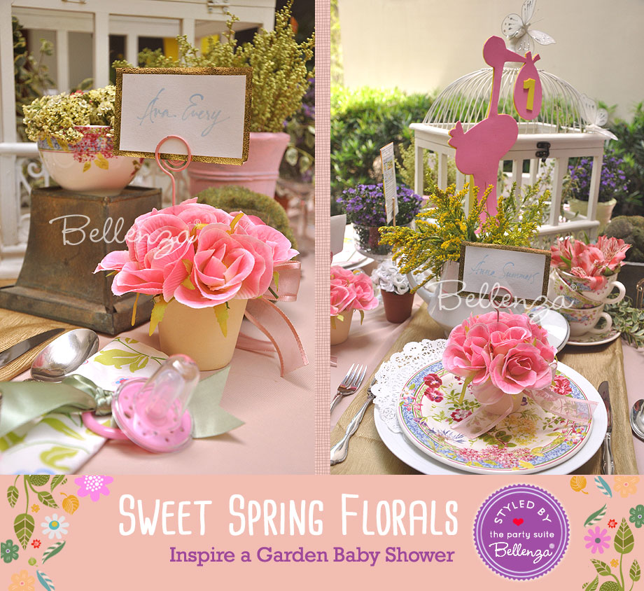 pink rose flower pots for guests to take home styled by bellenza - Spring Party Decorating Ideas