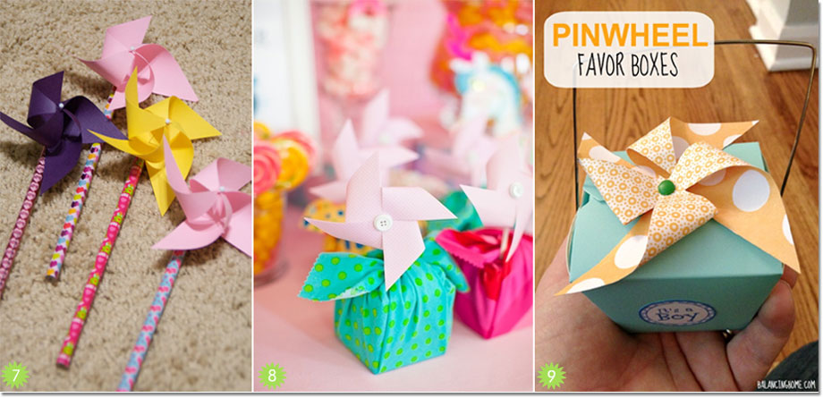 Pinwheels used as packaging accents for favors
