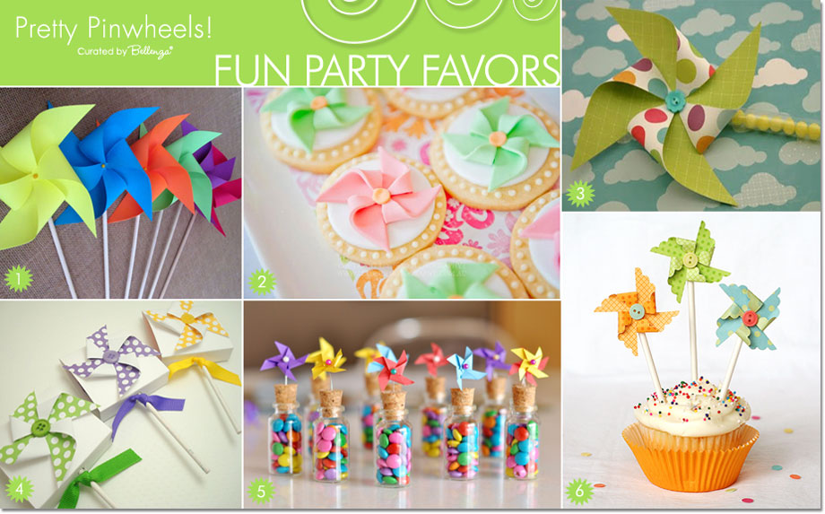 Pinwheel party favor ideas and packaging for birthdays and baby showers