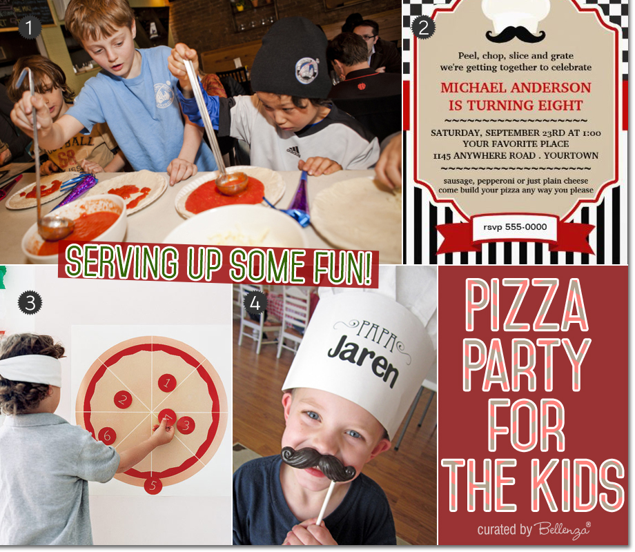Decorations and activities for a pizza themed birthday party for the kids