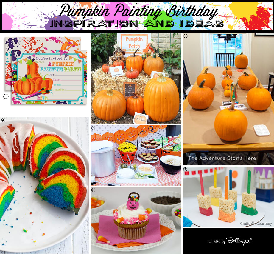 Pumpkin painting birthday decor, food table, sweets and cake
