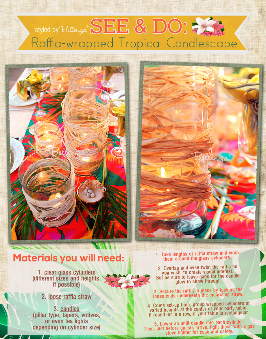 A luau-inspired candlescape by Bellenza. #luaucandlescape #luaucandles