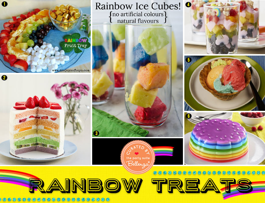 Rainbow fruit desserts and treats
