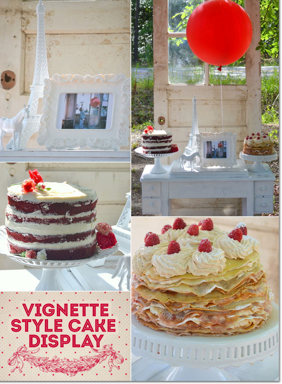Cake display with red velvet cake and crepe cake for a French themed Red Balloon Party