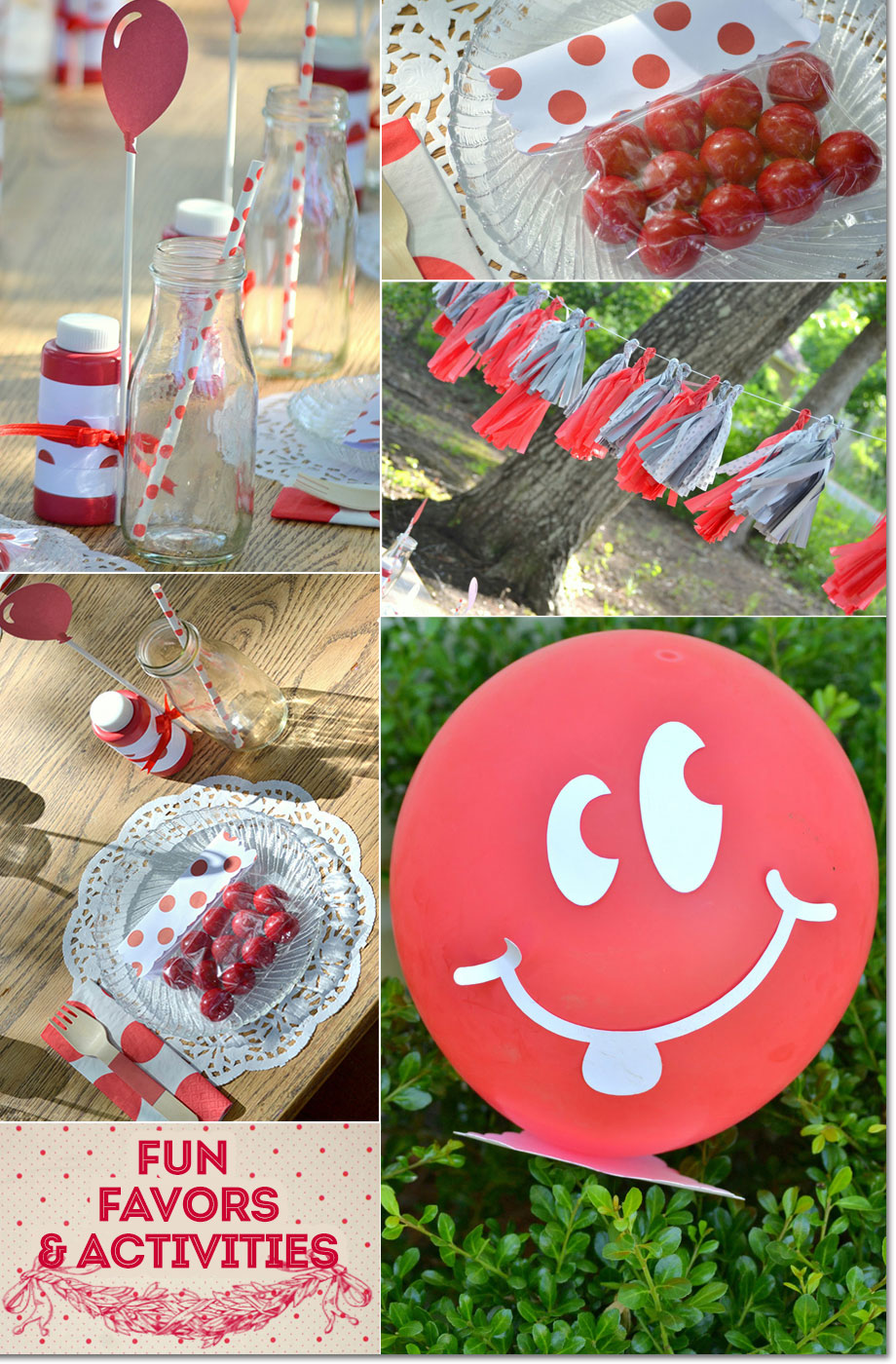 Red and white favors and table decorations from red bubble gum favors to bubbles to balloons