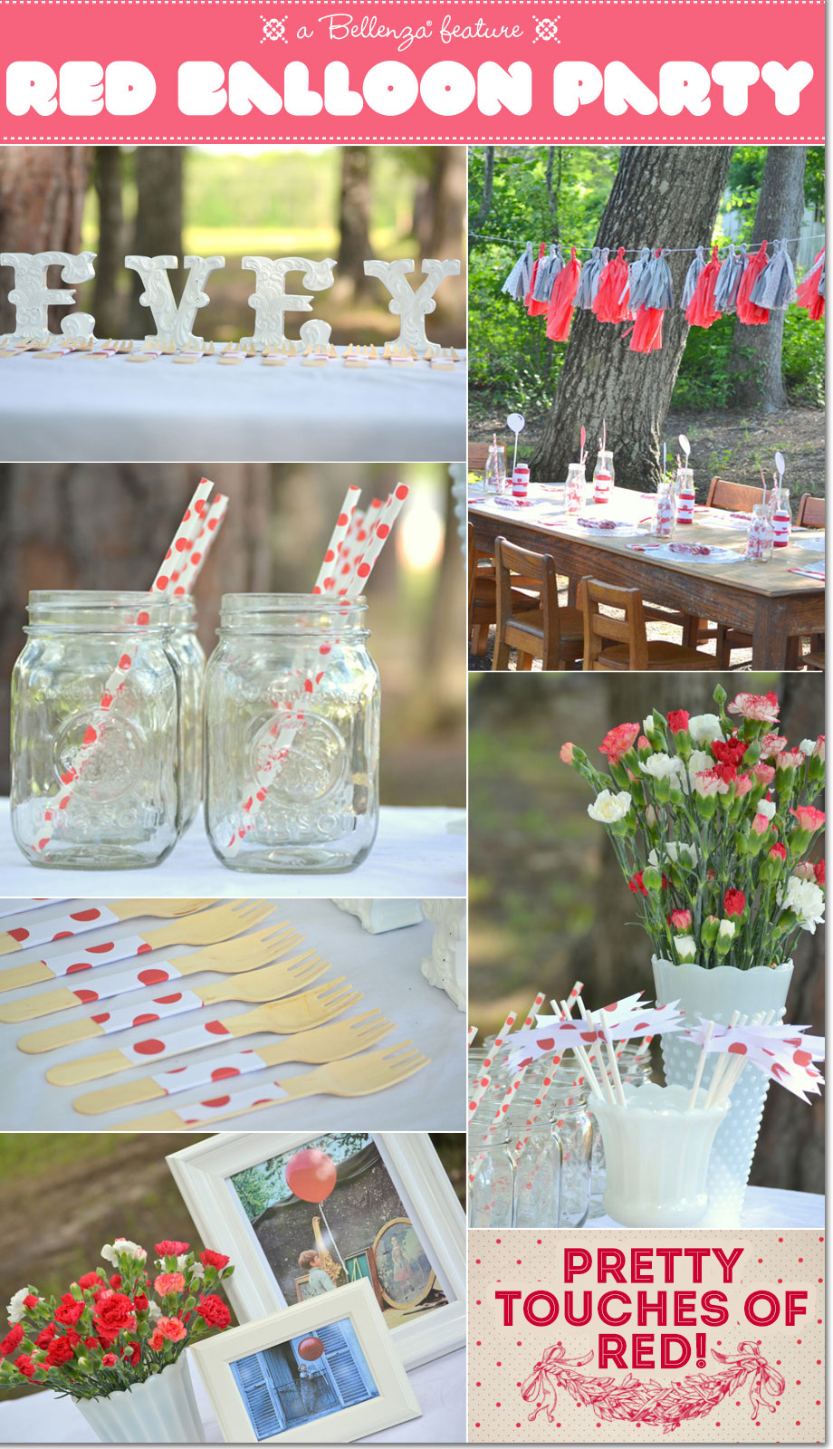 Red balloon party theme table decorations from bright red carnations to fringe tassel garlands