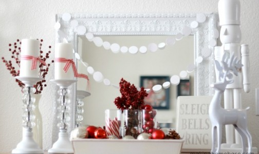 Red and white Christmas decorations. Photo credit: Making Home Base