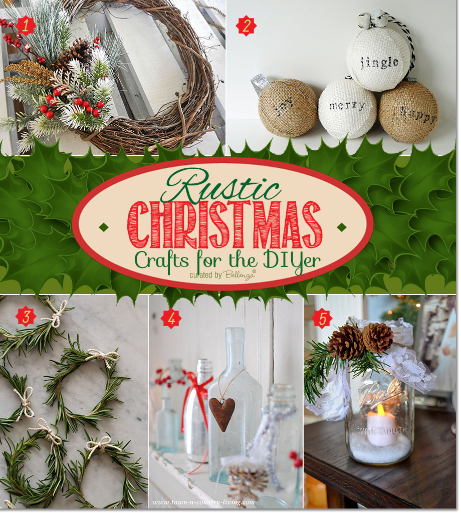 Rustic Christmas Decorations with Twig and Berry Wreath, Burlap Ornaments, Mini Wreaths, Decorated Bottles, and Mason Jar Candle Holders.
