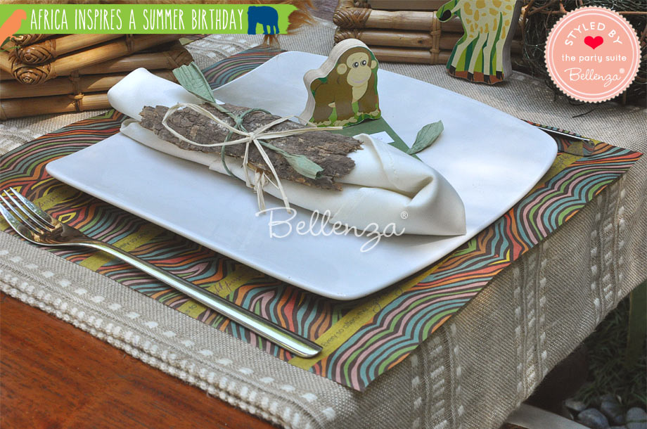 African themed place setting with safari decorations