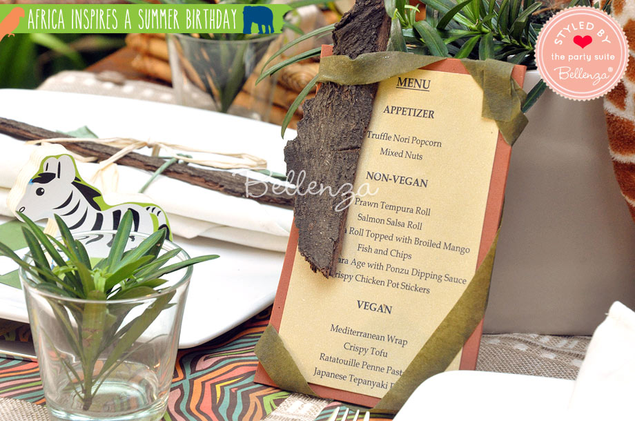 African themed birthday menu