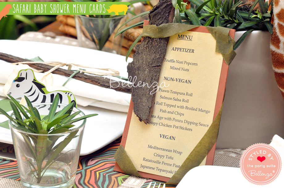 Add some greenery to the menu card display.