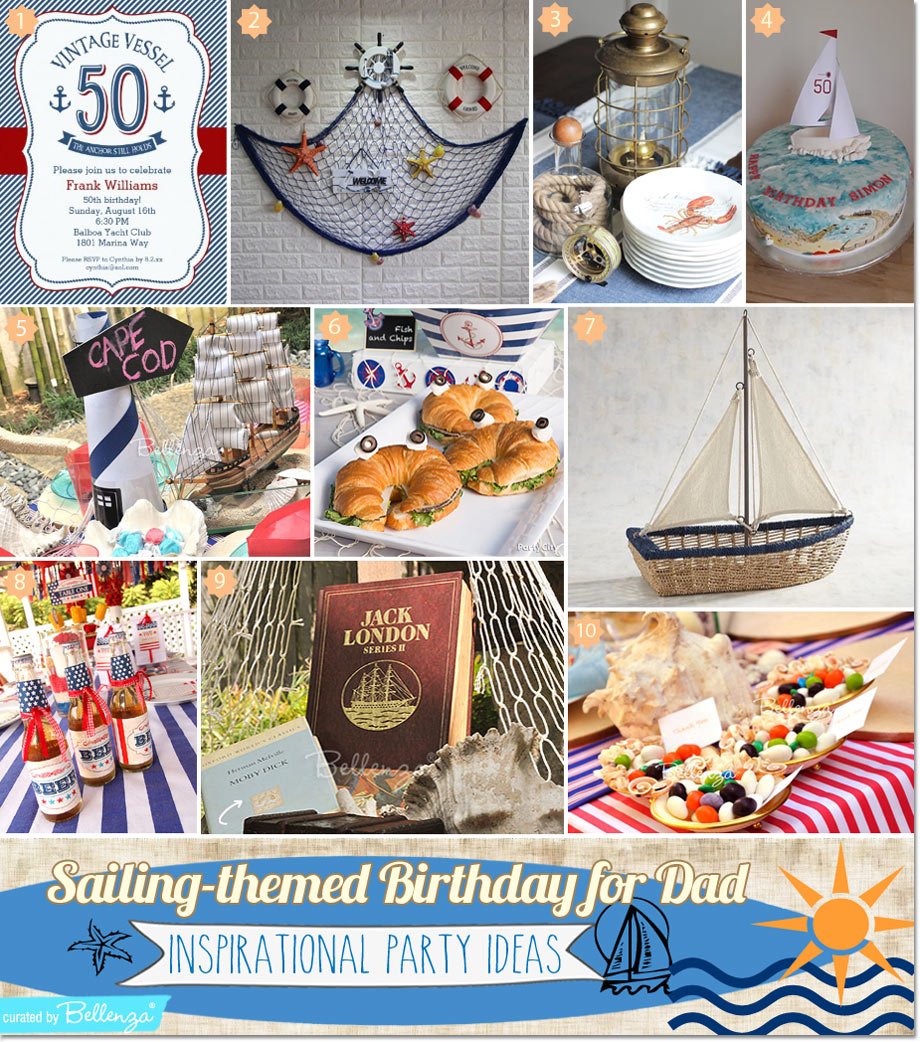 Sailing birthday ideas for dad. Also great for a Navy party