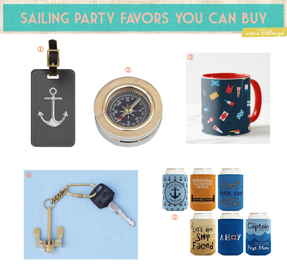 Sailing favor ideas for a nautical or regatta retirement or birthday party.