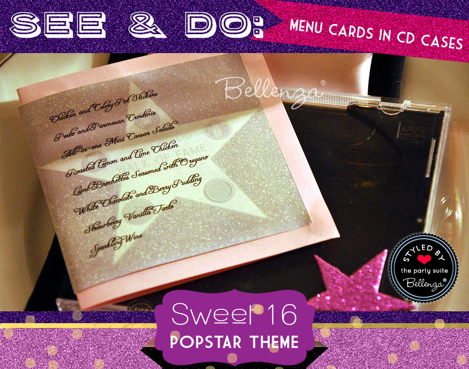 Sample Menu for Popstar Sweet 16