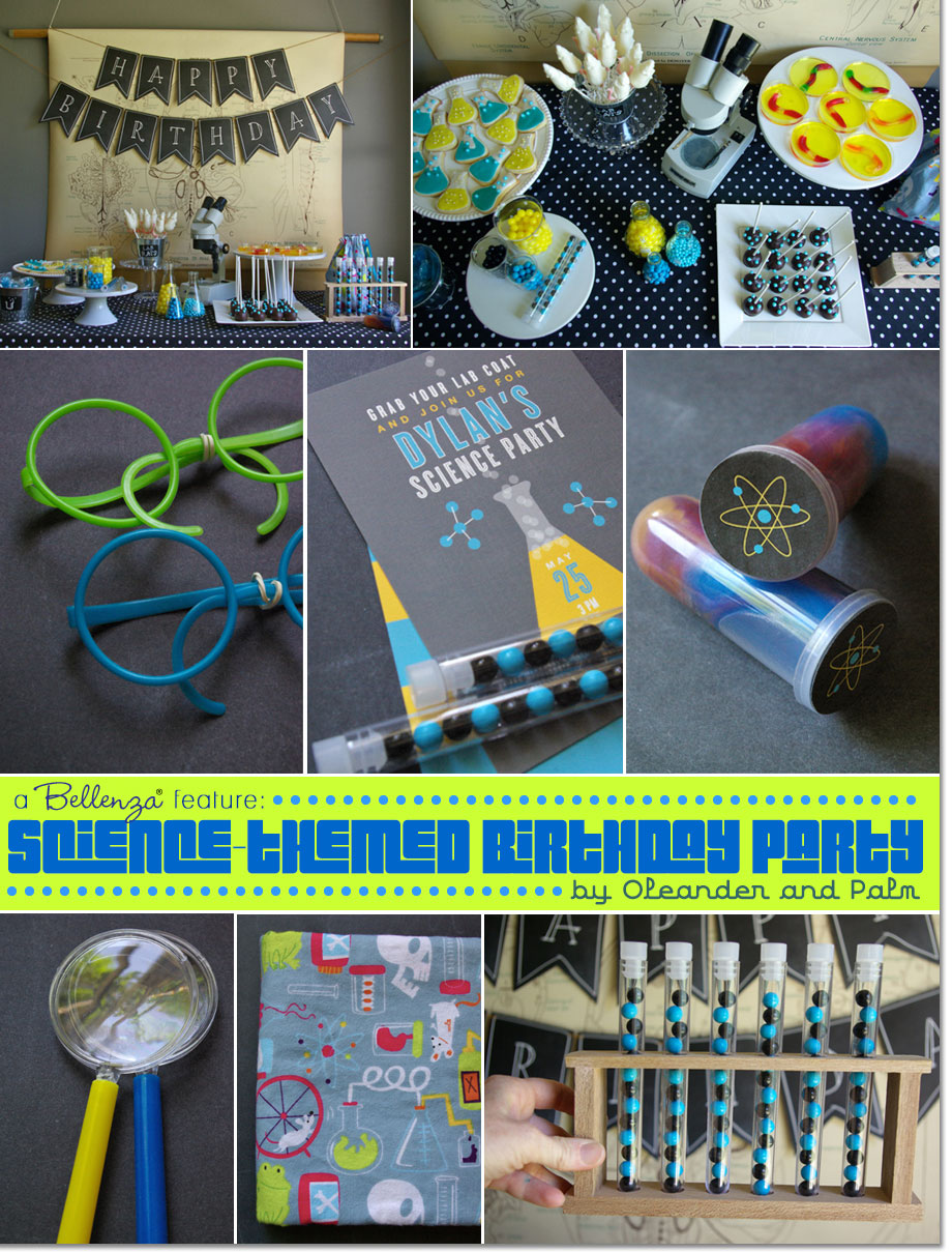 Science themed boy's birthday party inspiration from dessert table to party treats by Oleander and Palm | Featured on Party Suite at Bellenza