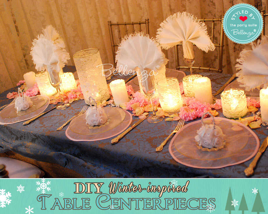 Shabby chic vintage winter centerpiece