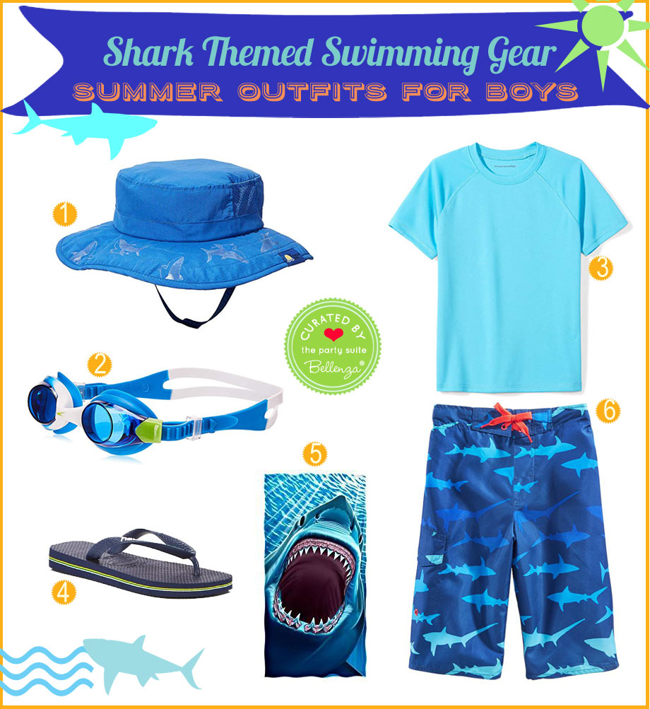 Outfit for a shark pool party.