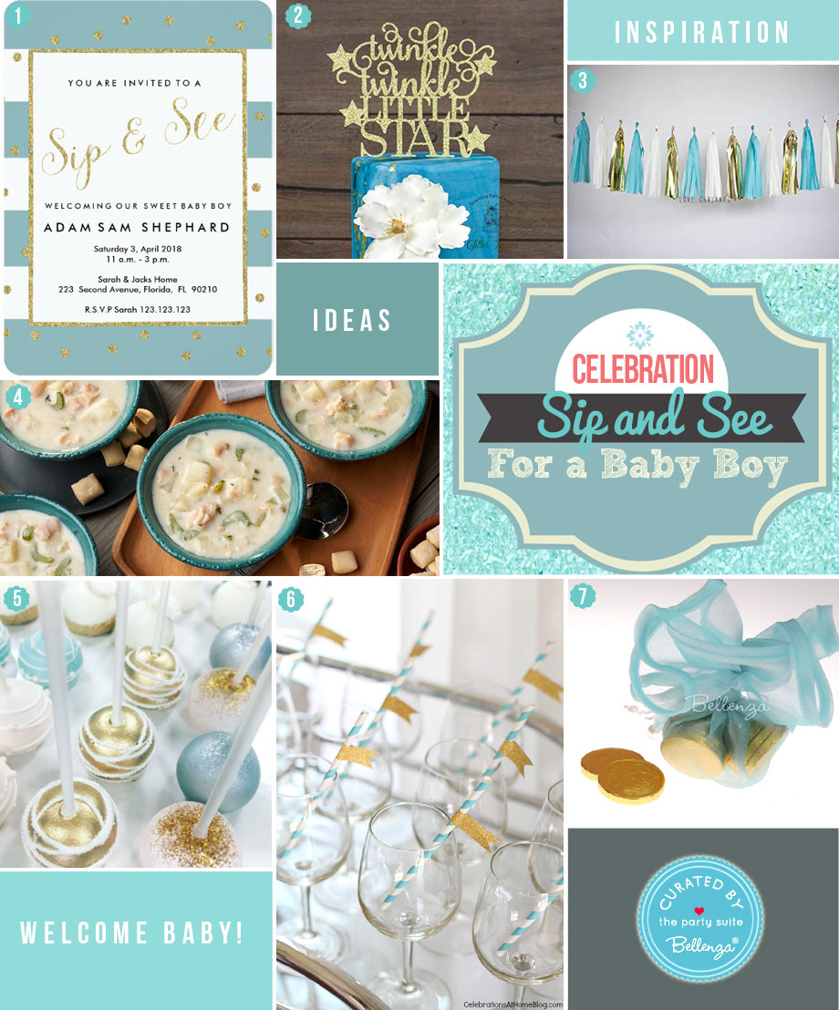Styling Ideas for a Baby Boy Sip & See Party from Food to Favors