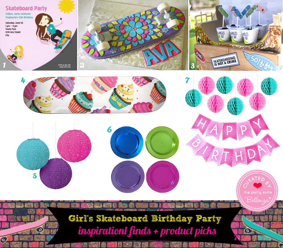 Skateboard party decor for pink and teal palette with cake and supplies
