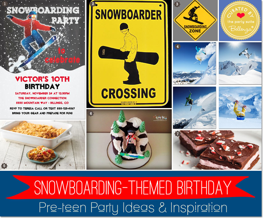 Snowboarding themed birthday party for winter
