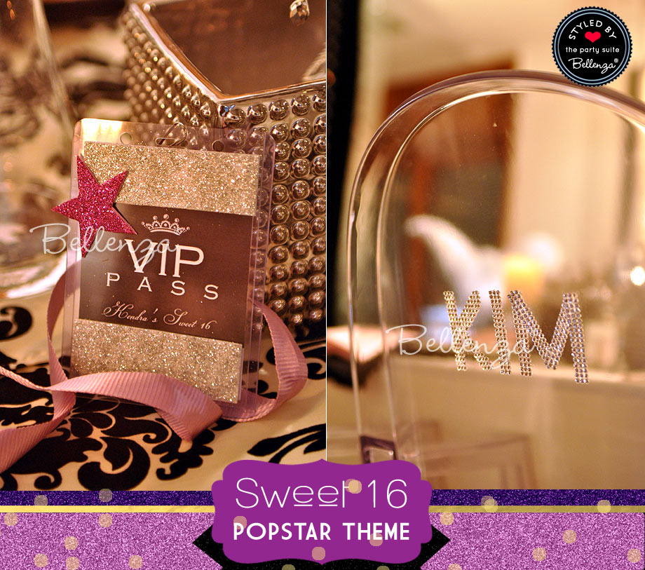 VIP passes specially designed and personalized for the occasion, sparkly chair place cards