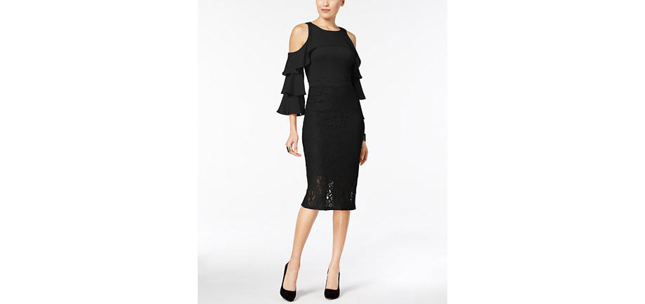 Thalia Sodi Ruffle-Sleeve Lace-Skirt Dress