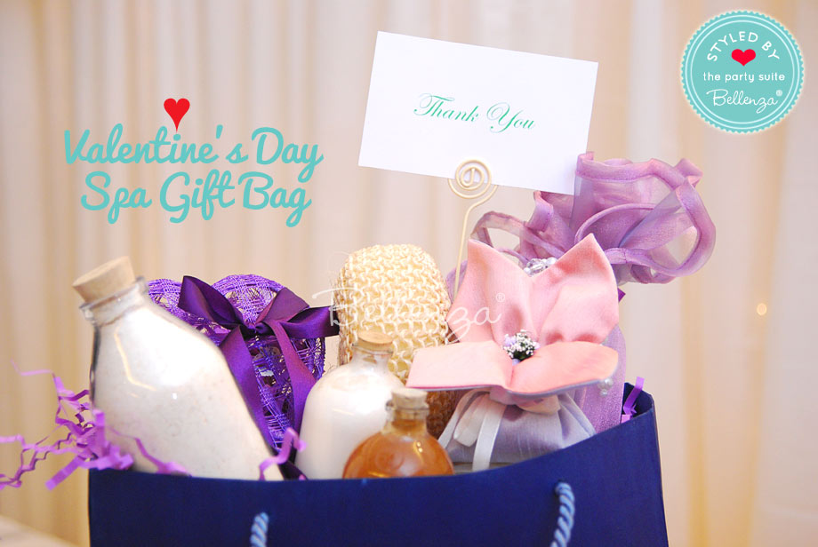 Valentine's spa gift bag of goodies