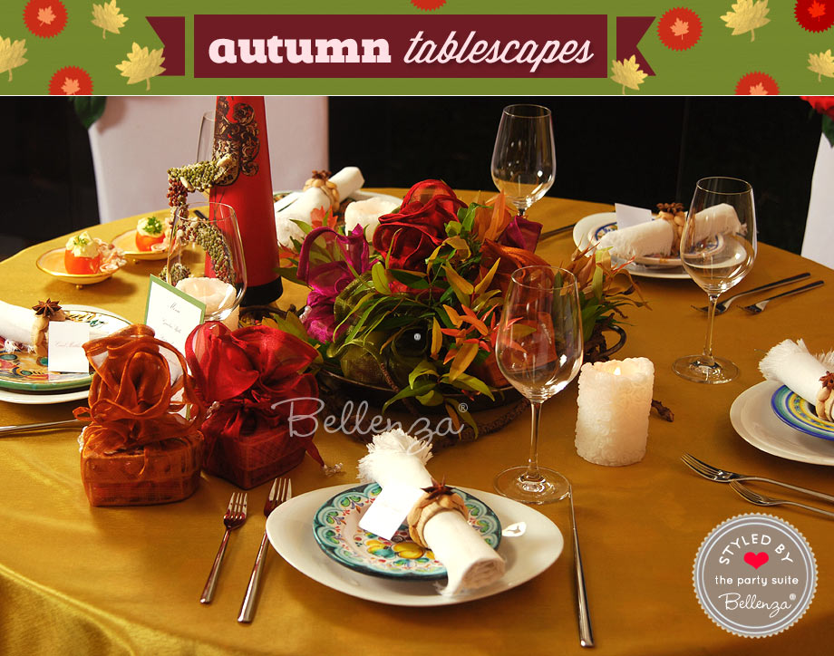 Spanish tapas fall table settings.