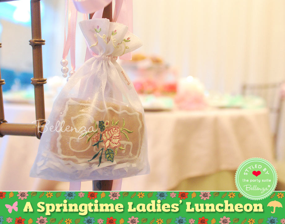 Ladies' luncheon favors from sachets to cookies in boxes.