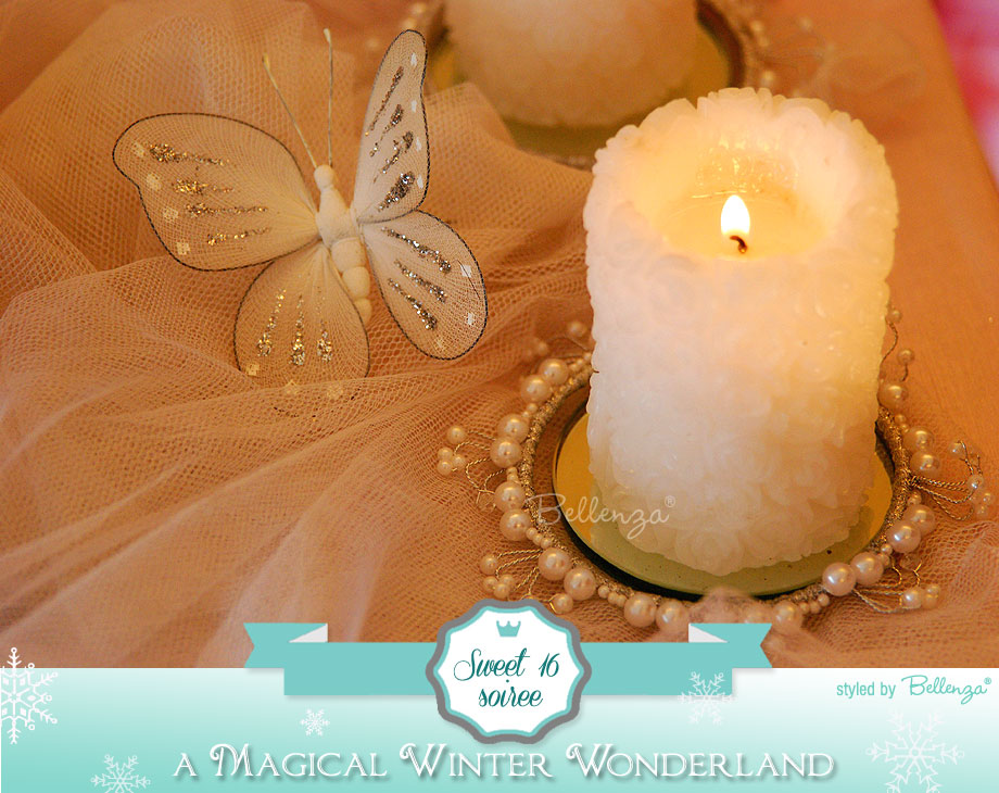Sweet 16 Winter Wonderland Candle Decorations