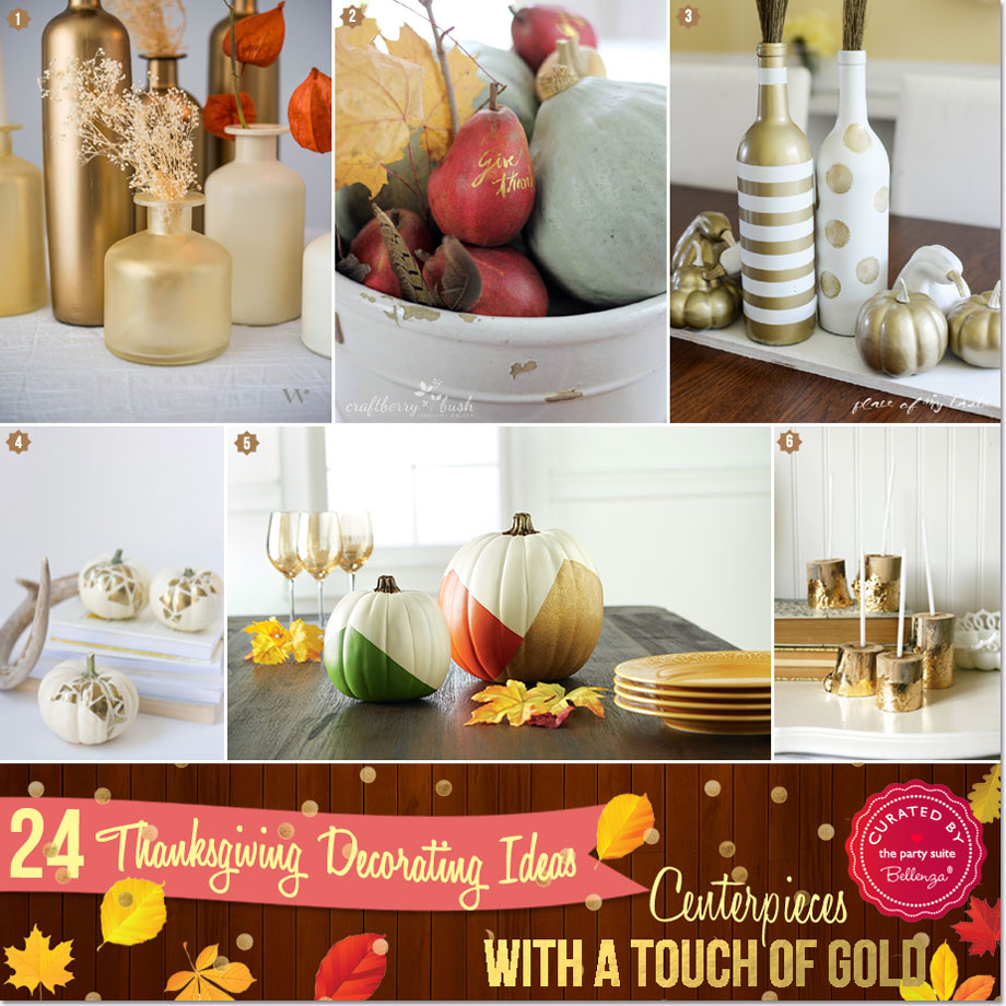 Thanksgiving gold centerpieces from bottles to fruits.