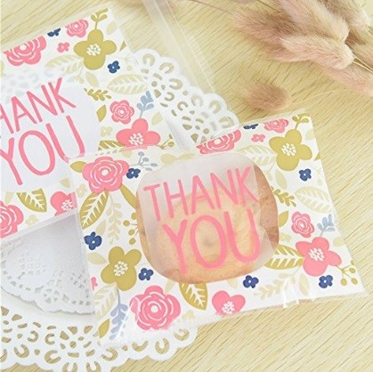 #11 Floral Plastic THANK YOU Self-adhesive Cookie Packaging Bags from Pinklife via Amazon.