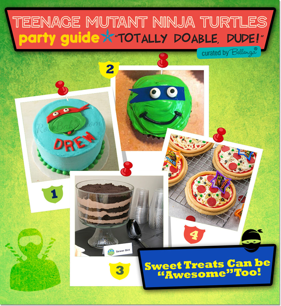 TMNT Party Treats, Cupcakes, and Birthday Cake.
