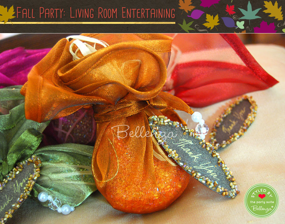 Tral mix favors packaged in fall hued wrapping.