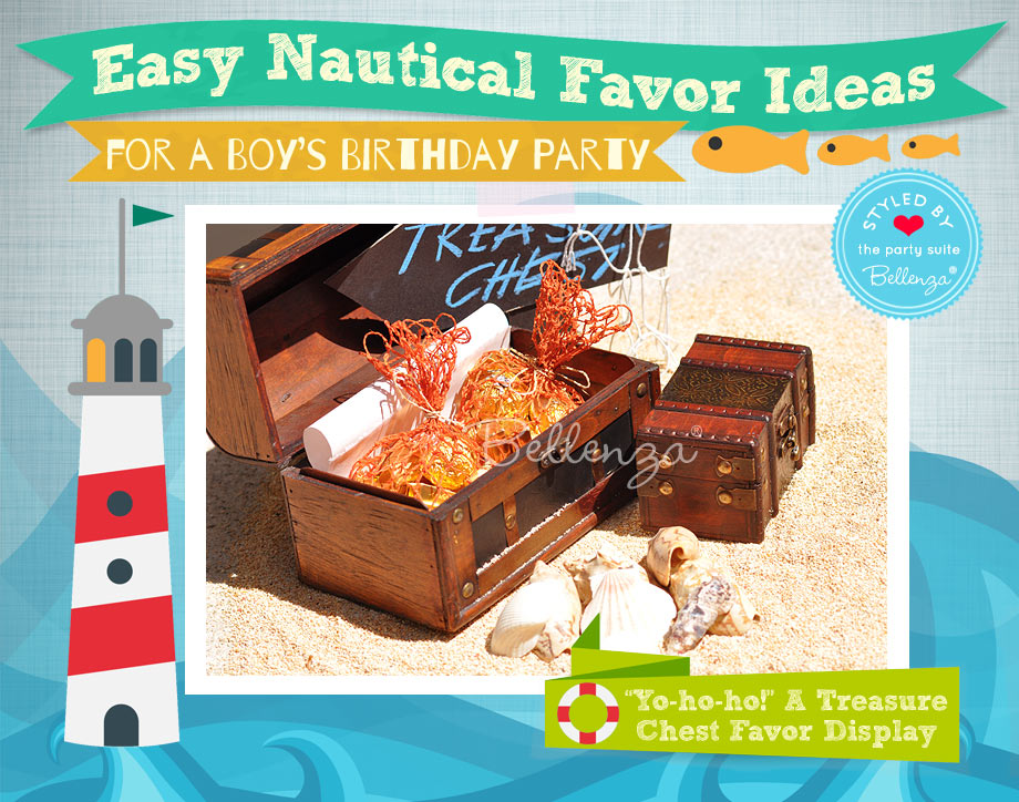 Treasure chest favor with chocolates as nautical favors.