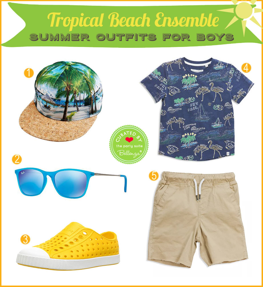 Tropical beach outfit for a big boy