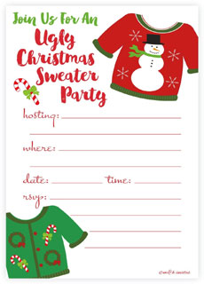 Ugly sweater theme invitation via Amazon