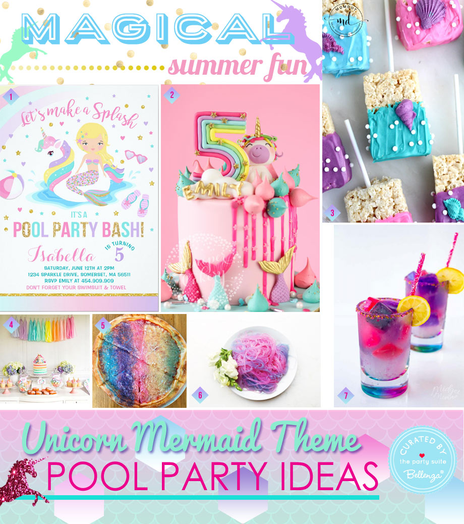 Party decorations for a mermaid unicorn birthday party for kids