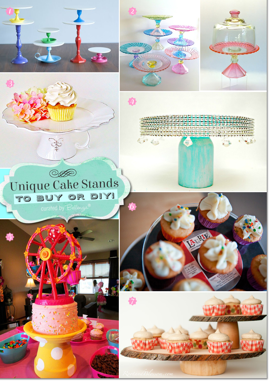 Ideas for how to make cake stands using materials from tea saucers to candle sticks to clay pots!