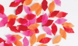 Valentine's confetti lips in pink and orange