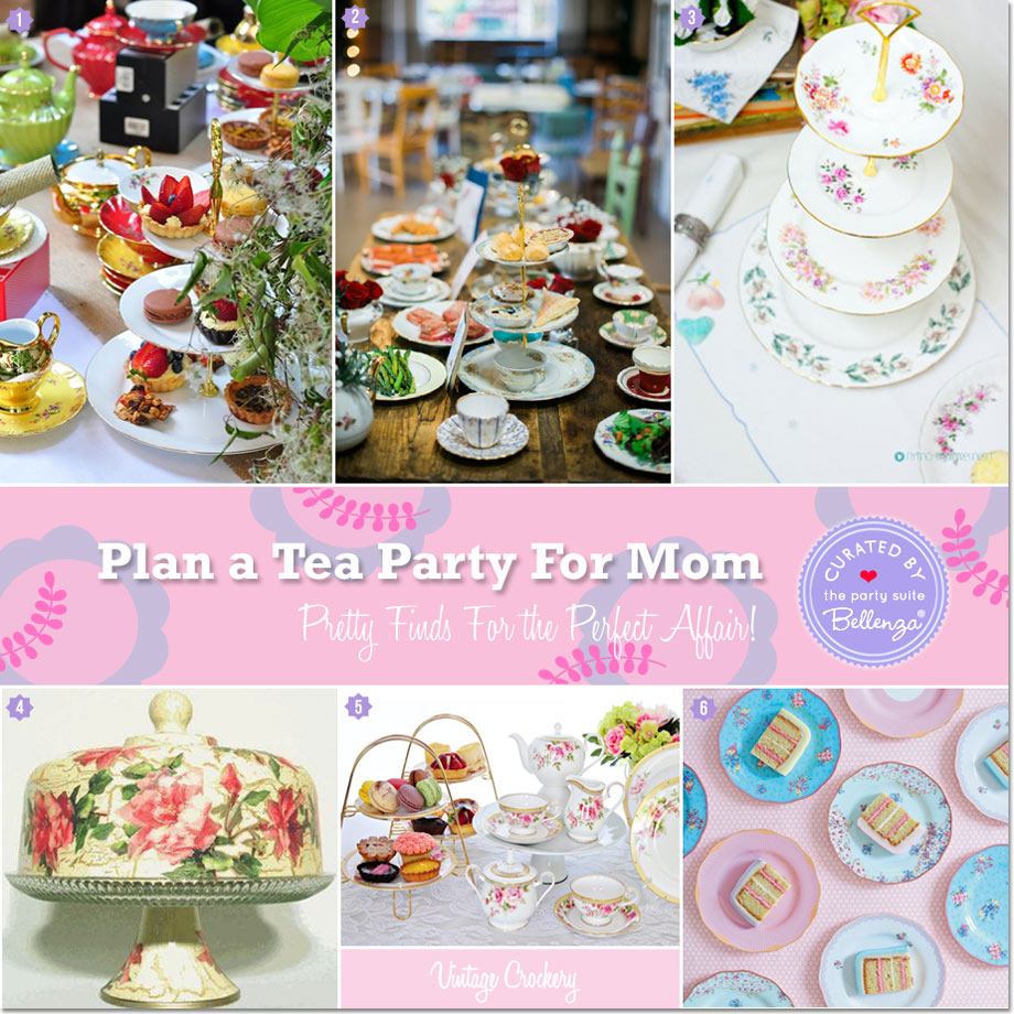 Tiered pastry stands, cake plates, and pedestals for Mother's Day Tea Party