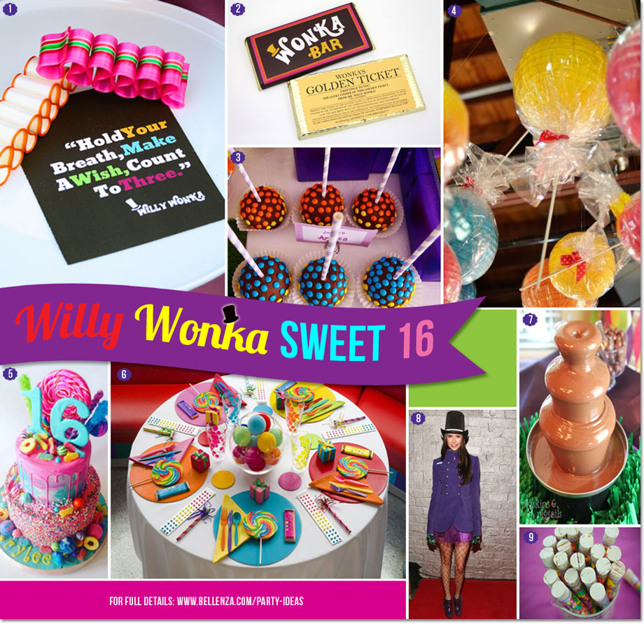 Willy Wonka-inspired Sweet 16 Party  |  Decor, Food and Favor Ideas