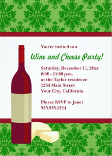 Wine and cheese invite via Zazzle