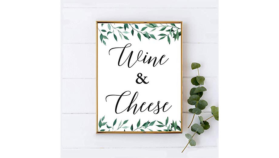 Andaz Press Wine and Cheese Table Sign  via Amazon