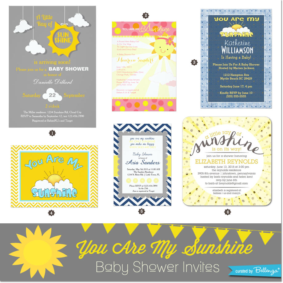 You are my sunshine party invitations for a baby shower // curated by Bellenza.