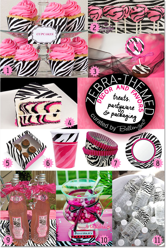 Zebra-themed Baby Shower: Sweet Treats, Party Ware, Packaging.
