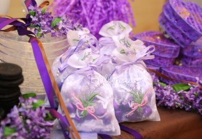 Laudene Lavender Embroidered Organza Bag (set of 5)
