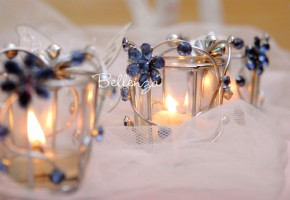 Nina Kirei Blue Jeweled Votive (set of 4)