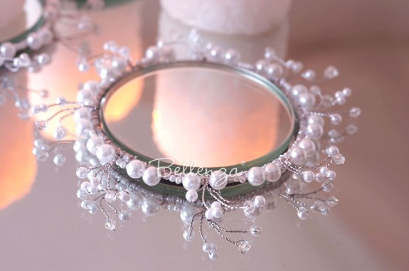 Erzella Pearl Beaded Candle Rings with Coaster (set of 4)